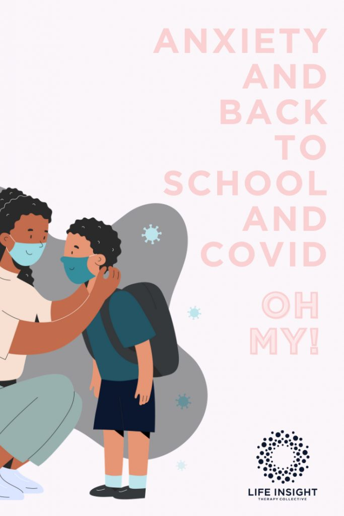 A graphic of a mother and son saying goodbye as the son returns to school during the COVID-19 pandemic after receiving family counseling in Hinsdale.
