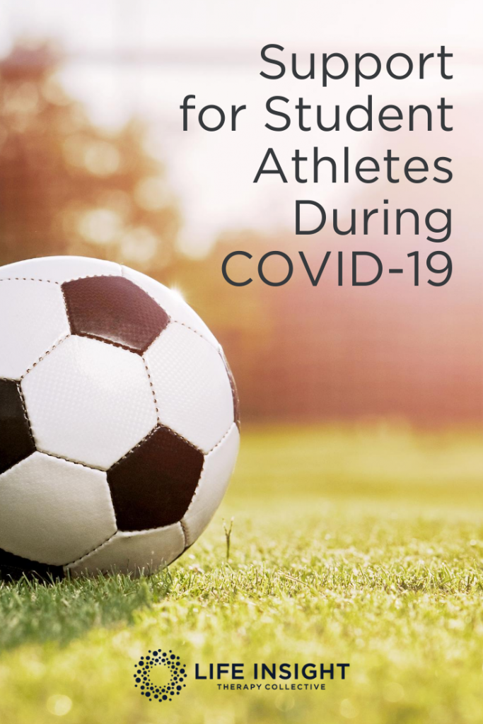 A soccer ball on the field with the words Support for Student Athletes During Covid-19. Find support during this time with our Hinsdale mental health services.