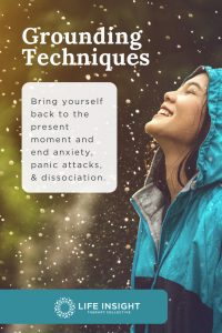 A pinterest graphic with a woman in a blue coat standing in the rain representing how you can benefit from therapy for anxiety near Western Springs.