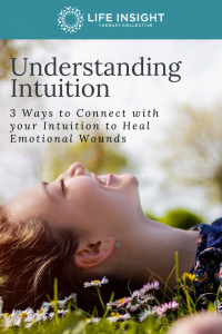 Pinterest image of woman laying down on grass, for help with defining your intuition meet with Schaumburg therapist.